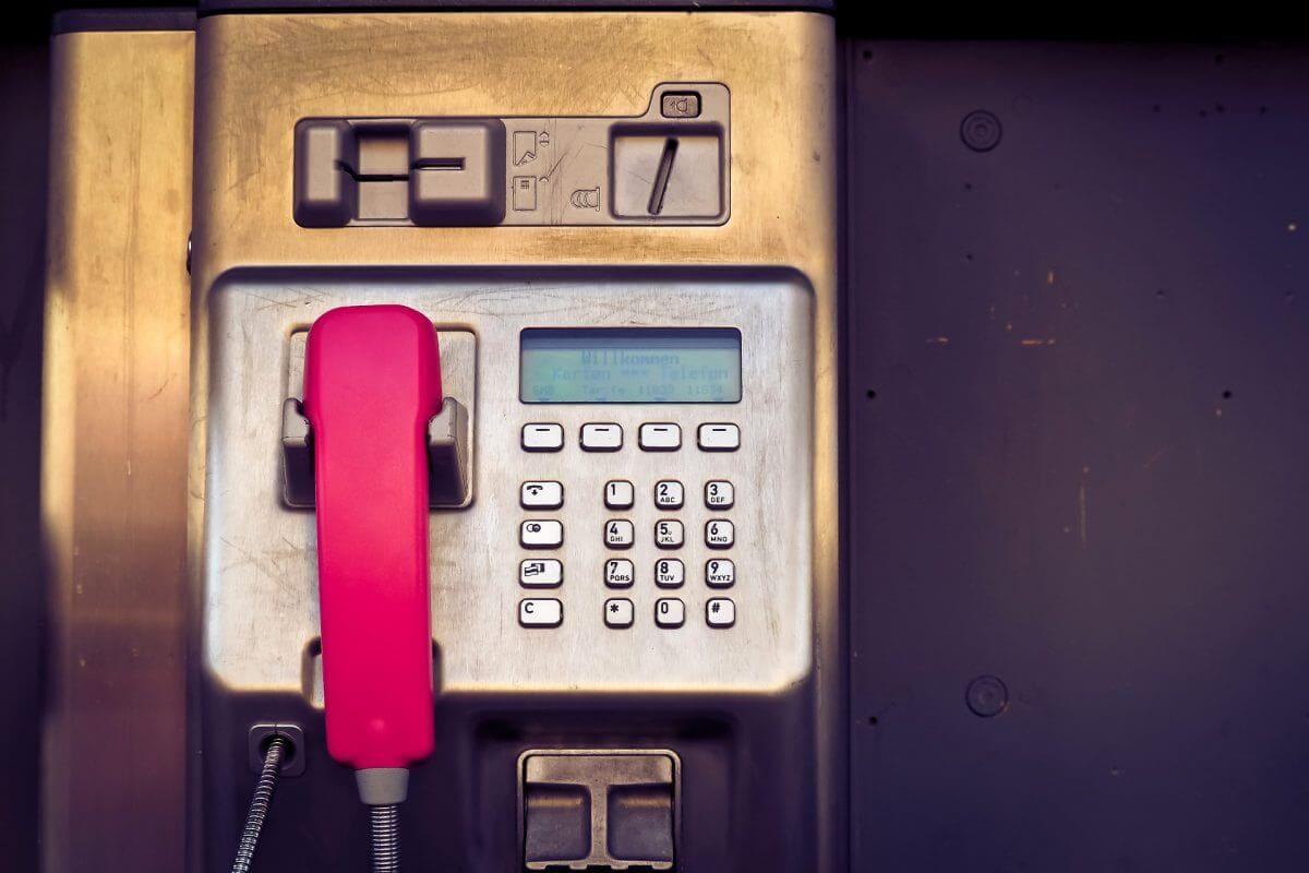 Old style public telephone