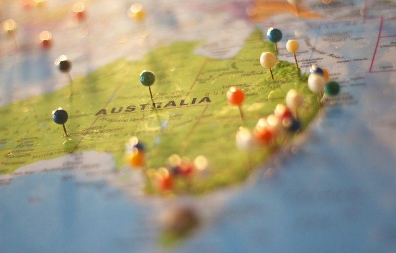 Map of eastern Australia with drawing pins in random places