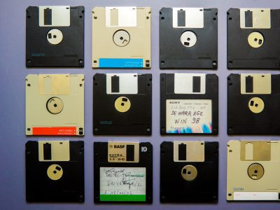 A row of floppy disks lined up