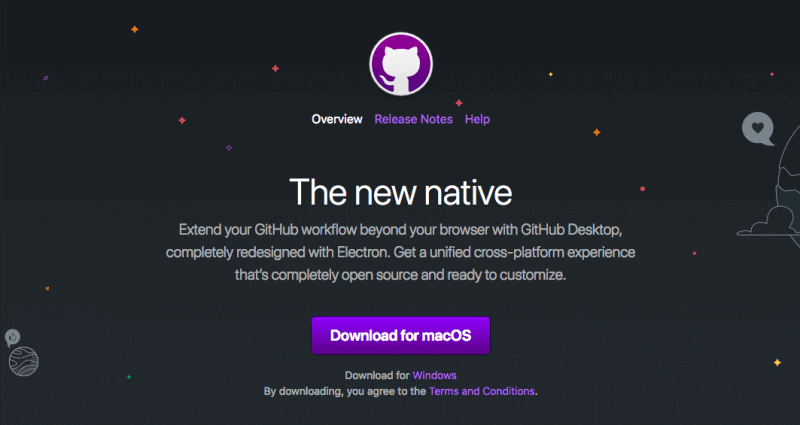 Screenshot of GitHub Desktop website.
