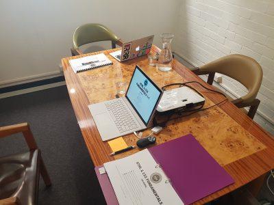laptops on a desk