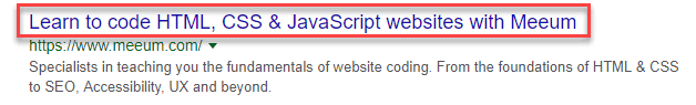 screenshot of a google result showing the title is the clickable heading