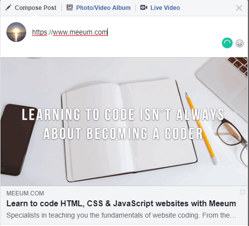 A Facebook post linking to Meeum.com, showing that the content of the title tag is used here as well.