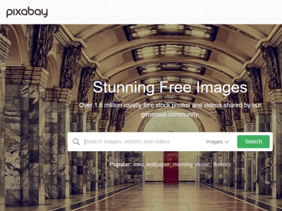 Screenshot of Pixabay home page