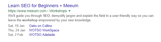 Screenshot of a Google result showing upcoming dates for Meeum SEO workshops.