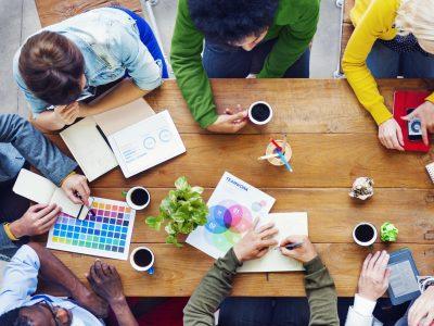 Entrepreneurs working at a desk.