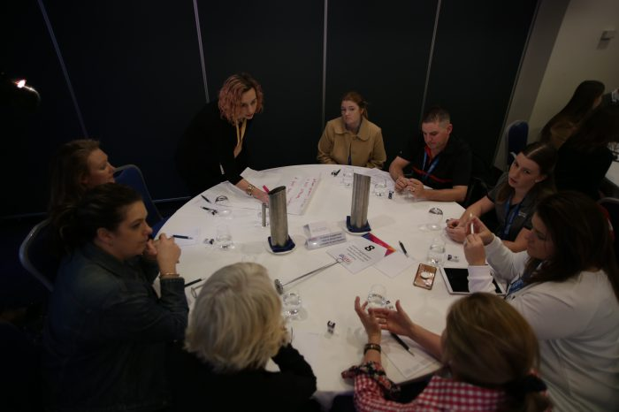 Elyse Maberley from Meeum facilitating a table talk at Small Business Digital Champions conference 2019