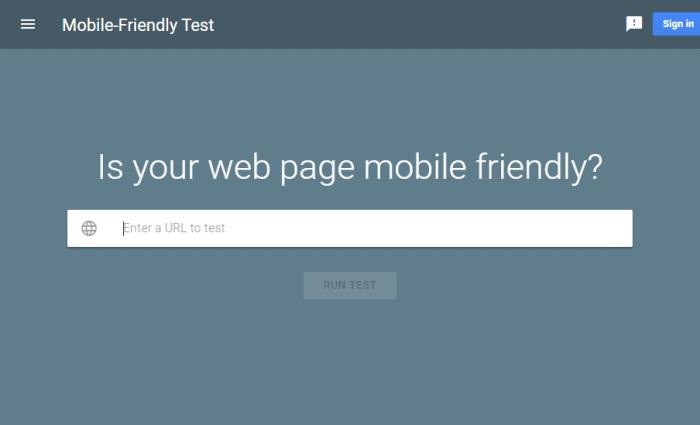 Google's mobile friendly test screenshot