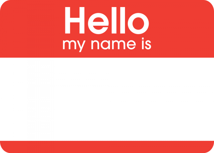 sticker saying 'hello my name is' with a blank space for someone to write their name