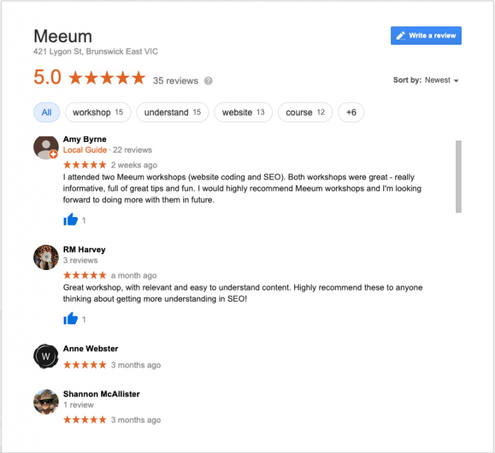 screenshot of some Meeum reviews on Google My Business