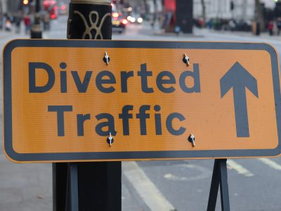 street sign saying Diverted Traffic