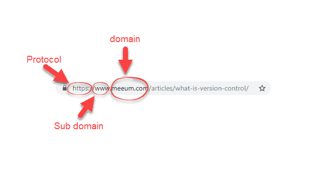 URL with domain circled