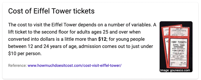 Bing search result for How much are tickets to the Eiffel Tower