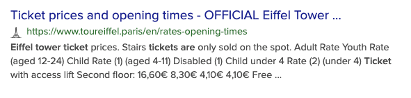 DuckDuckGo search result for How much are tickets to the Eiffel Tower