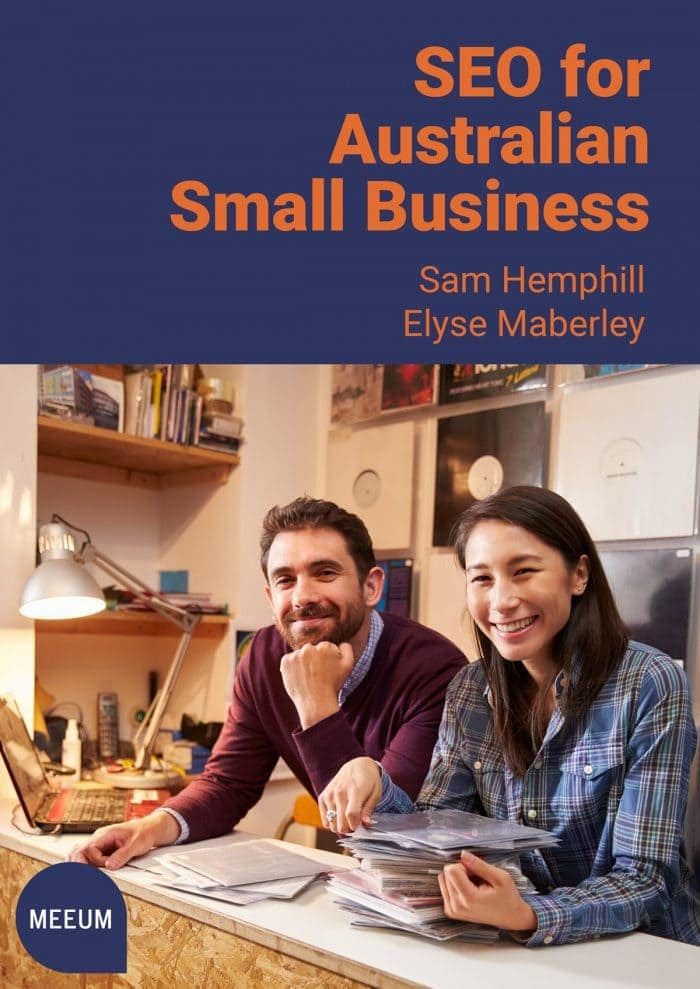 SEO for Australian Small Business book cover showing 2 people behind the counter in a record shop.