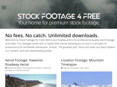screenshot of Stock footage website