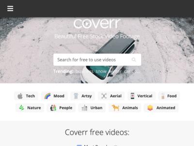 Screenshot of Coverr website