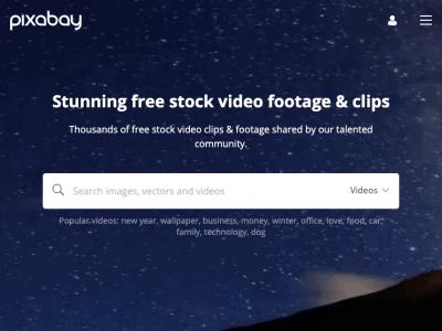 Screenshot of Pixabay website