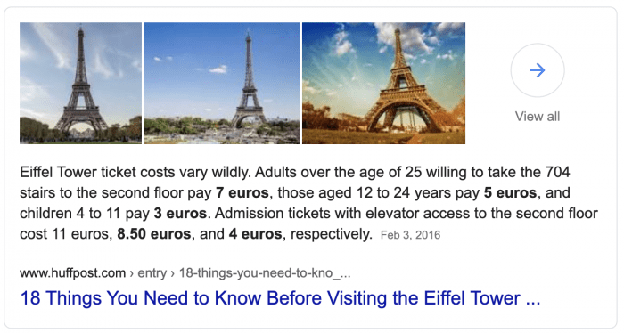 "A Google search result for ""how much are tickets to the Eiffel Tower"""